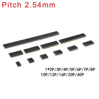 2.54mm Single Row Straight Copper Pin Female Header1x 234567810p-2040p