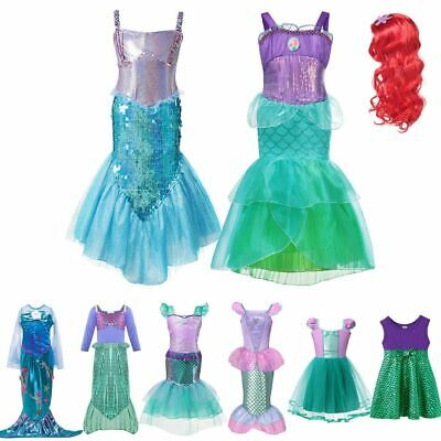 Girls Little Mermaid Dress Up Costume Summer Ariel Dresses Kids Birthday Party ()