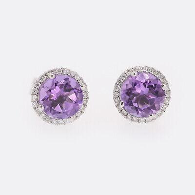 Kiki McDonough Grace Amethyst and Diamond Stud Earrings 18ct White Gold
