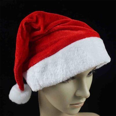 NEW 2017 Adult Unisex Soft Plush Ultra Thick Santa Claus Christmas Cap Hat red - Santa Caps