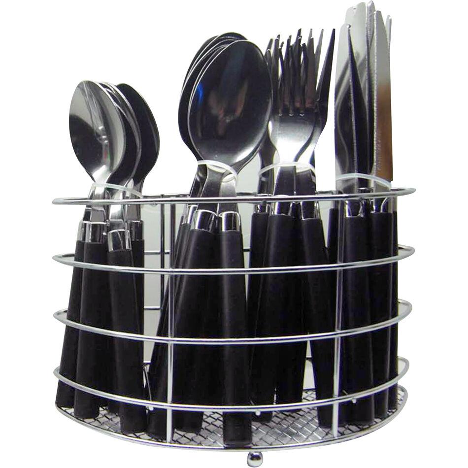 CUTLERY 24 PIECE LOOP DINNER SET RACK FORKS TEASPOONS TEA SPOONS DRAINER STAND