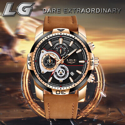 LIGE Luxury Men's Sport Watch Chronograph Luminous Dials Japan Movement Leather