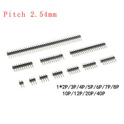2.54mm Straight Single Row Male Breakable Copper Pin Headers Connector 1p2p-40p