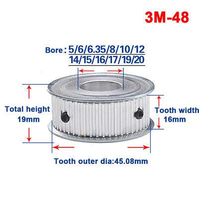 Timing Belt Pulley Gear Wheel Sprocket 3m48t Bore 5-20mm For 15mm Width Belt