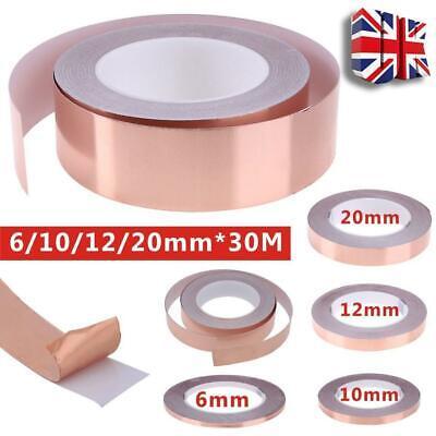 20mm*30M Adhesive Conductive Copper Slug Foil Tape Repellent Guitar EMI Shield