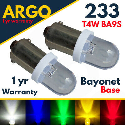Car Parts - Ba9s T4w Sidelight Led White 233 Car Interior Side Light Bulbs Red Green Amber