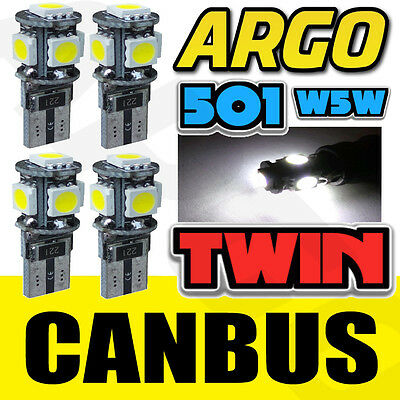 4x ERROR FREE CANBUS 501 5 SMD LED REAR TAIL LIGHT BULBS WHITE XENON T10 W5W 194