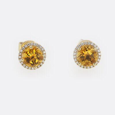 Kiki McDonough Grace Citrine and Diamond Stud Earrings 18ct Yellow Gold