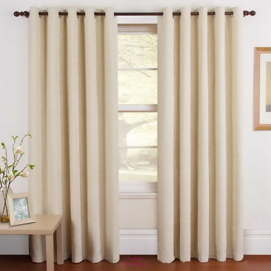 2 Panels Thermal Insulated Rod-pocket Blackout Curtains Dark