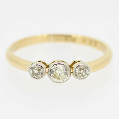 Three Stone Old Cut Diamond Ring 18ct Yellow Gold