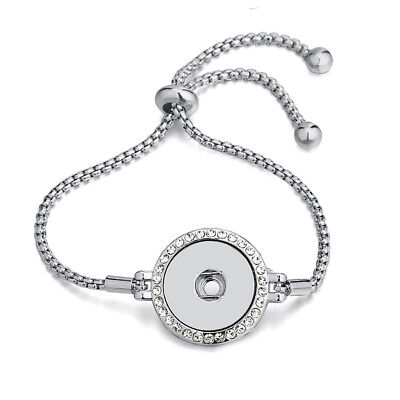 Silver Rhinestone Pull Closure Bracelet Drill Snaps Fit 18mm Noosa Chunk Button