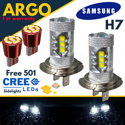H7 Super Bright White Cree 499 Headlight Bulbs 12v Led T10 501 6 Smd Side lights