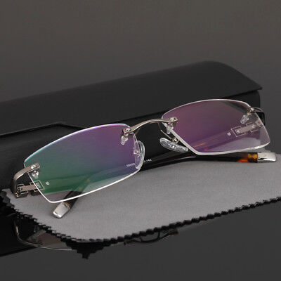 Acetate Temples Frame - Business Style Rimless Eyeglass frames Eyewear Glasses Acetate Temple Gunmetal