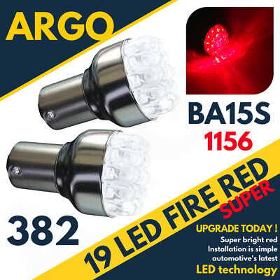 19 LED 382 RED REAR HIGH LEVEL BRAKE LIGHT BULBS LAMPS 1156 BA15S P21W 12V PAIR](Red Contact Lenses Cheap)