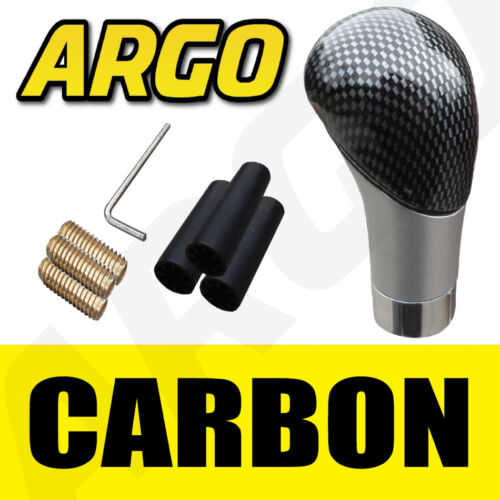 CARBON FIBRE GEAR KNOB SHIFT STICK SHIFTER LEAVER MANUAL BLACK SILVER SPORT FIT