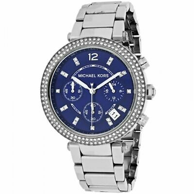 Michael Kors MK6117 Parker Silver Blue Face Wrist Watch for Women