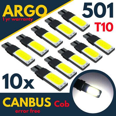 Car Parts - 501 Led Cob White T10 Xenon Bulbs W5w Side Light Canbus Error Free Wedge 194 168