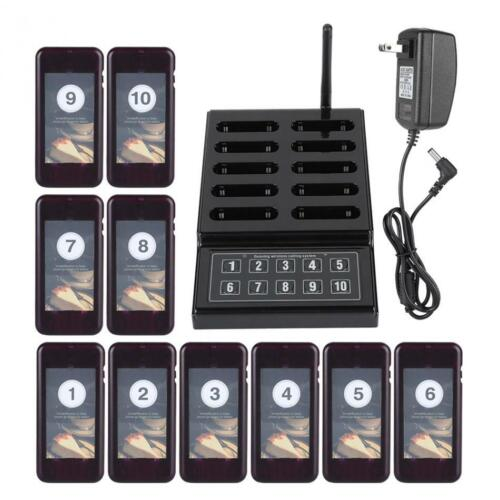 SU-68G Restaurant Food Truck Wireless Paging Queuing System 1X Keypad+10X Pagers