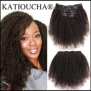100% HUMAN HAIR Afro American Kinky Curly CLIP IN Hair Extension, 7 pcs set, 120-135g / Rallonge de cheveux à clip