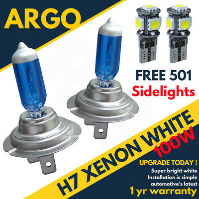 H7 100w Super White Xenon 499 12v Dipped Headlight Bulbs  Led 501 Sidelights