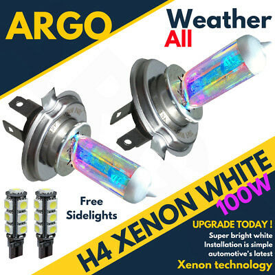 H4 Xenon White 100w Dipped Low Beam Headlight Headlamp 501 Sidelight Bulbs X 2