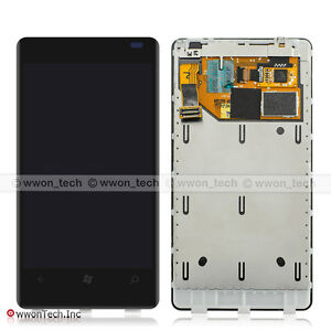 Black Nokia Lumia 800 LCD Display Touch Screen Digitizer Assembly+Frame