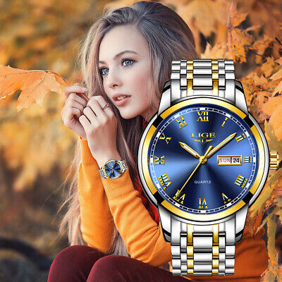 LIGE Couple Watch Gold Blue Watch Women Quartz Watches Ladies Top Brand Luxury F