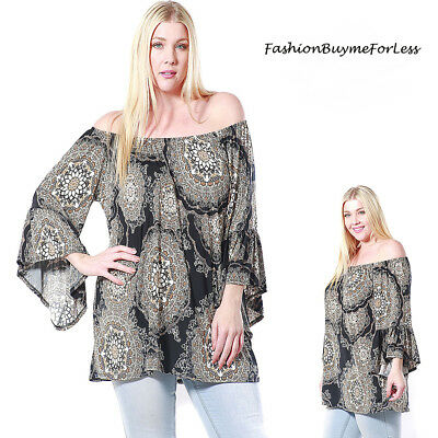 PLUS Size Boho Off Shoulder Bell Fairy Sleeve Peasant Tunic Shirt Top 1X 2X 3X - Plus Size Fairy