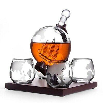 Whisky Set: Whisky Karaffe Globus mit Schiff + 4er Whiskygläser - Kieferholz