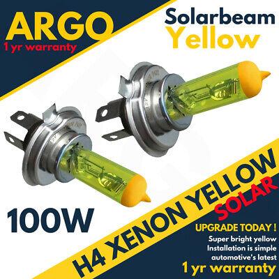 H4 Xenon Super Yellow 100w Bulbs Dipped Main Beam Headlight Headlamp 472 Halogen