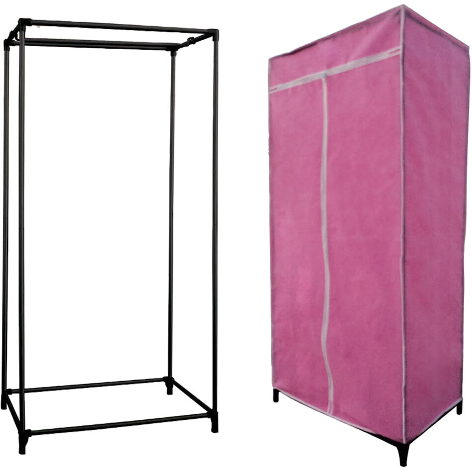 Canvas Storage Boxes For Wardrobes: SINGLE / DOUBLE CANVAS WARDROBE RAIL CLOTHES STORAGE WITH