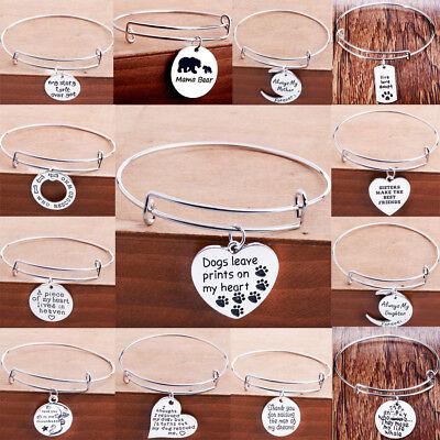 Mom Bangle Bracelet (Dog Paw Charm Mom Dad Grandma Sister Gifts Teacher Heart Bangle Bracelet)
