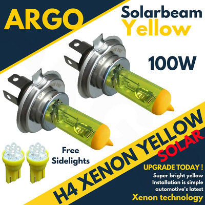 2 X H4 Xenon Yellow 100w Front Main Beam Headlight Headlamp 501 Sidelight Bulbs