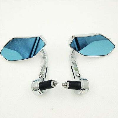 """Light blue glasses Mirrors chromed for Kawasaki any 7/8"""" or 1"""" diameter handles"""