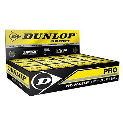 12 Dunlop Pro Double Yellow Dot Squash Balls RRP £47.99 - LOWEST DOZ PACK PRICE!