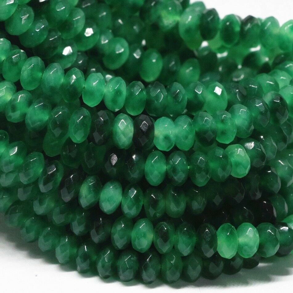 BD1083 20 Jade Beads 8mm x 5mm Abacus Natural Dyed Malay Jade Beads