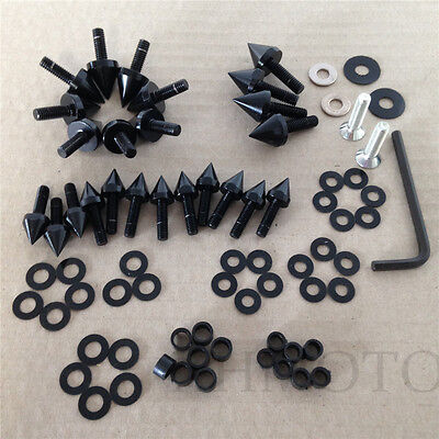 BLACK Motorcycle Spike Fairing Bolts For 03-04  SUZUKI GSXR1000 GSX-R (Black Spike Fairing Bolts)