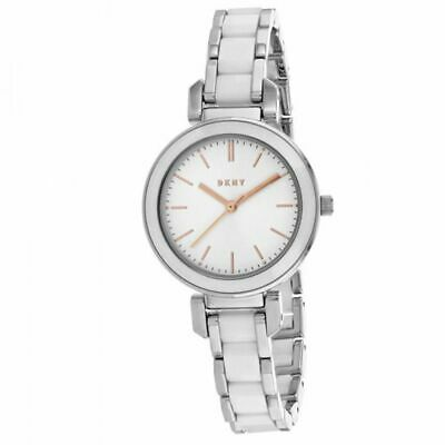 NWT DKNY Silver Dial White Ceramic & Stainless Steel Womens Watch NY2588 $175 Dkny Womens White Crystal