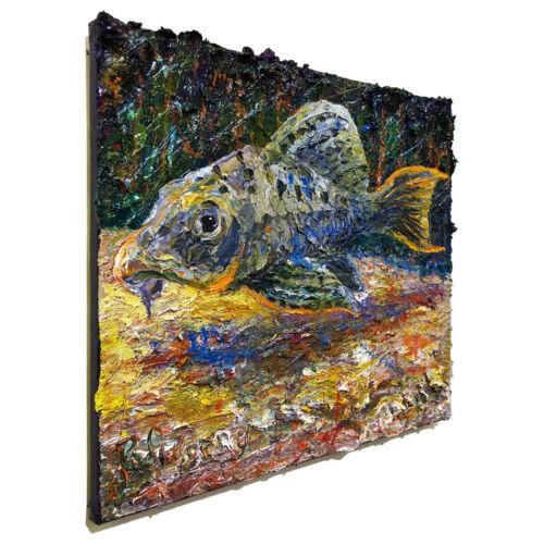 FISH ORIGINAL OIL█PAINTING█VINTAGE█IMPRESSIONIST█ART SIGNED ABSTRACT ANIMAL POP