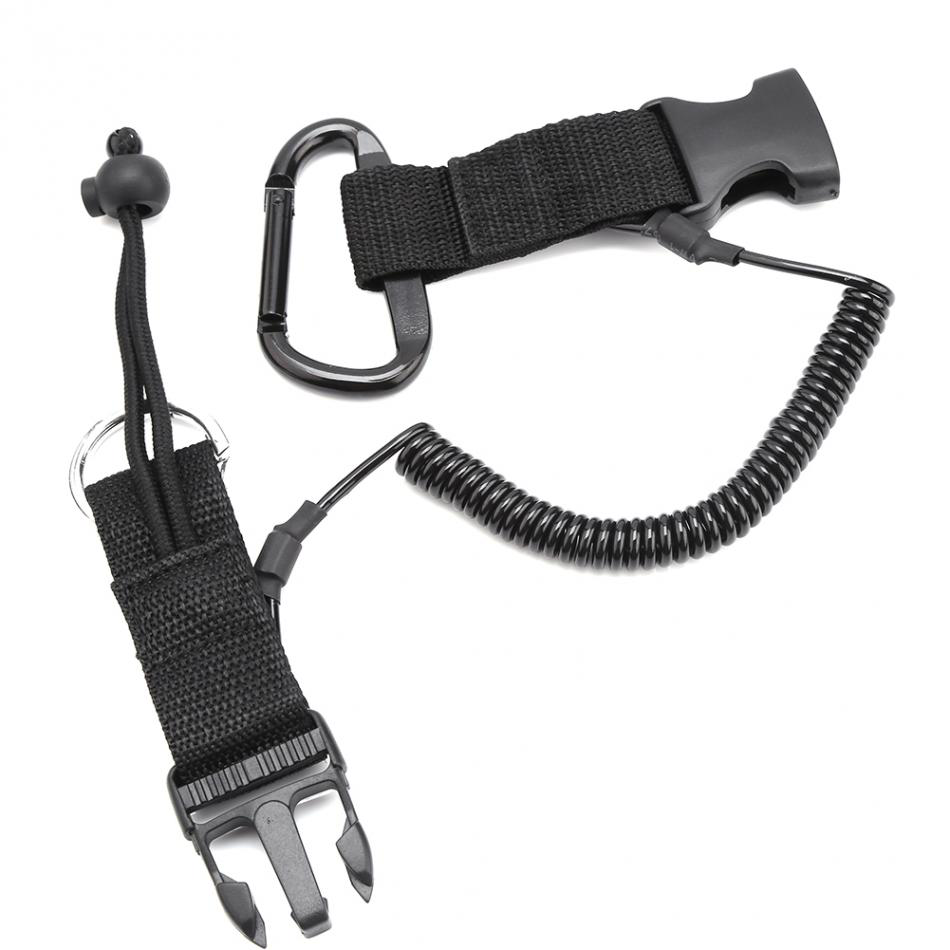 Scuba Diving Spring Coil Torch Underwater Camera Lanyard Quick Release Clip