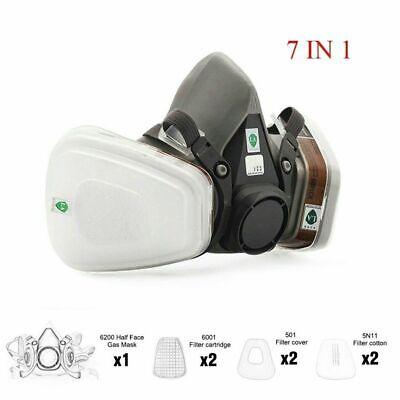 7in1 Half Face Gas Mask Facepiece Spray Painting 6200 Respirator Safety Reusable