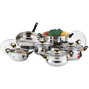 12PC-STAINLESS-STEEL-COOKWARE-SAUCEPAN-PAN-POT-SET-NEW