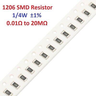 50pcs 14w 1206 Smdsmt Resistors 1 -full Range Of Values 0.01 To 20m