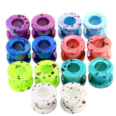 Acylic Camouflage Double Flared Ear Tunnels Plug Expander Gauge Piercing Jewelry