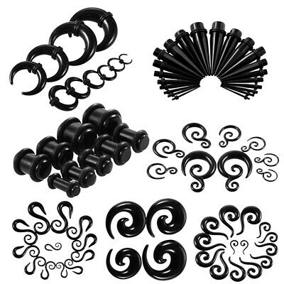 12-18pcs Black Acrylic Spiral Tapered Tunnel Plug Ear Gauges Stretching Kits
