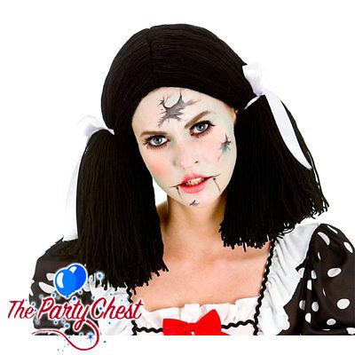 Black Rag Doll Wig (LADIES BROKEN RAG DOLL BLACK WIG Gothic Halloween Rag Doll Fancy Dress Wig)
