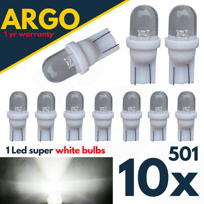 Used, T10 501 Led White W5w Car Side Light Bulbs Number Plate Interior Xenon Hid Bulb for sale  Wolverhampton
