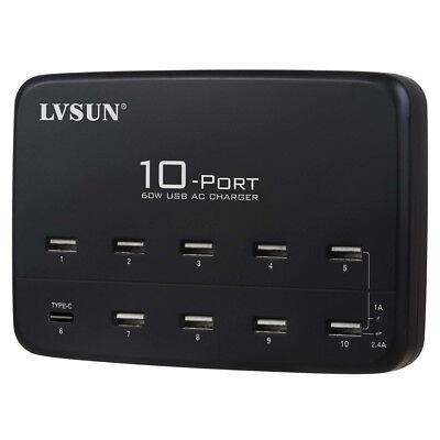 Estación de carga profesional, carga inteligente 10 móviles o 5 tablet a...