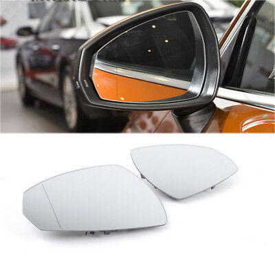 Pair Heated Wing Door Mirror White Glass For Audi A3 2014 2017