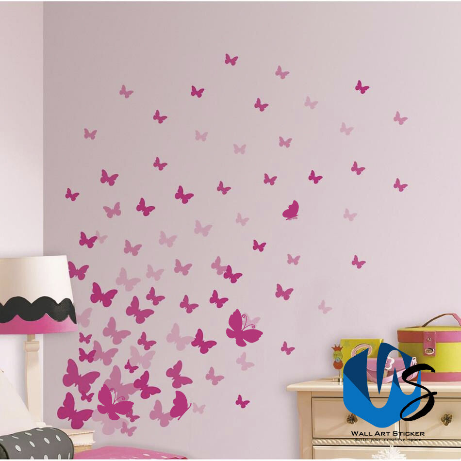 Home Decoration - 37 Mixed size Butterfly Design Wall Art Stickers Kid Decals baby nursery bedroom